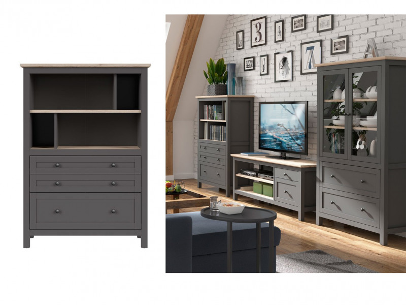 Modern Wide Bookcase Storage Shelving Unit with Drawers Country Grey / Oak Effect - Bocage  (S503-SFK3S/15/11-GF/DSAJ-KPL01)