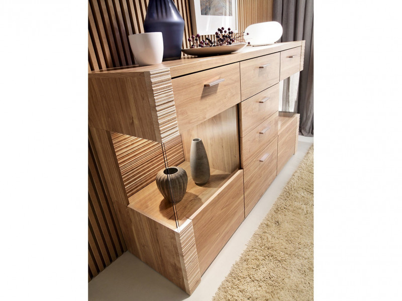 Large Glass Sideboard Dresser Display Cabinet LED Lighting - Raflo (S126-KOM2W4S/10/16-OSV-KPL02)
