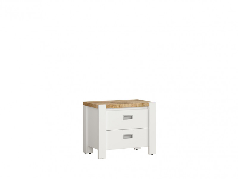 Country Cottage Bedside Cabinet Side Table with Drawers White/Oak - Dreviso (S378-KOM2S-BI/DWM/BI)
