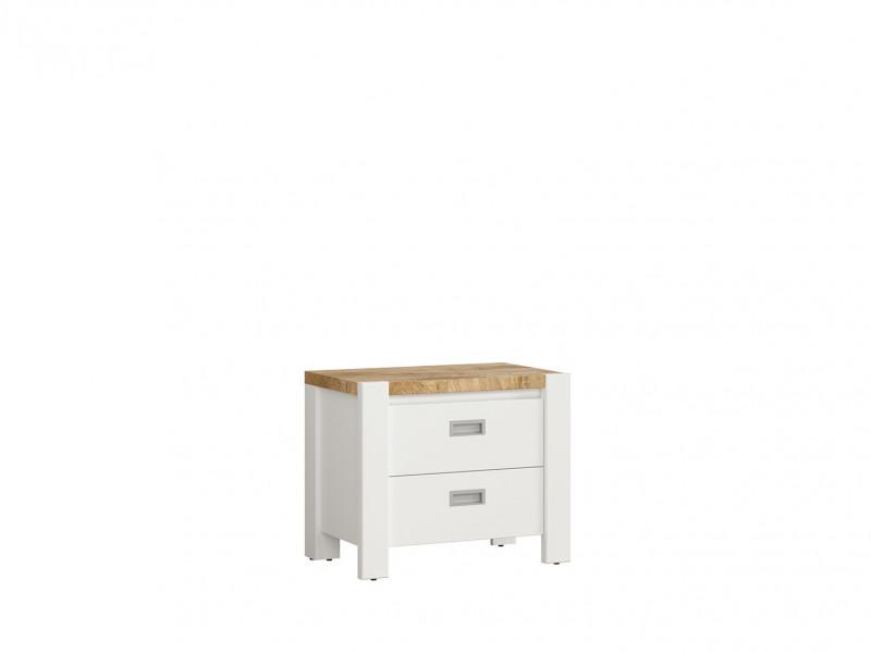 Country Cottage Bedside Cabinet Side Table with Drawers White/Oak - Dreviso (S378-KOM2S-BI/DWM/BI-KPL01)