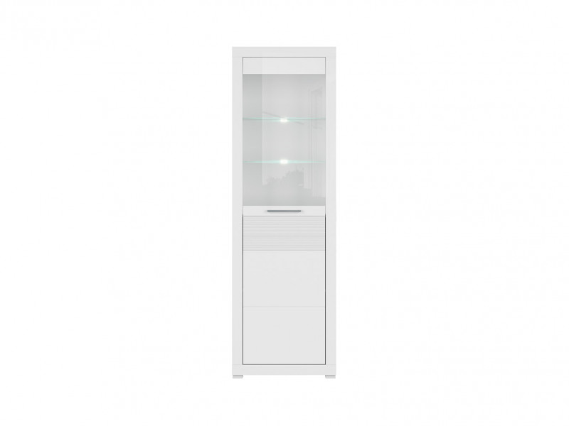 Modern Tall Display Cabinet White Gloss LED Living Room Storage - Flames (S428-REG1W-BIP-KPL01 & LED)