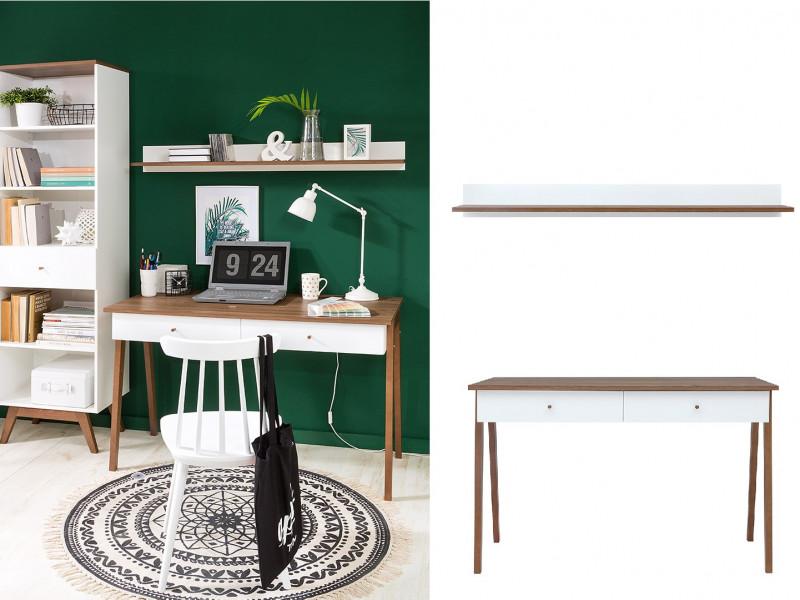 White Gloss/Walnut Compact Home Study Office Set: Wooden Framed Desk & Wall Shelf - Heda (S385-OFFICE-SET-1)