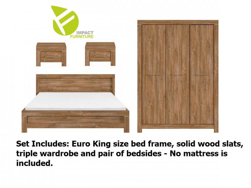 Modern 4 Pc Bedroom Set: Euro 160cm King Size Bed Frame, 3 Door Wardrobe, Bedsides Medium Oak Effect - Gent (S228-GENT_BEDROOM_SET_2-DAST)