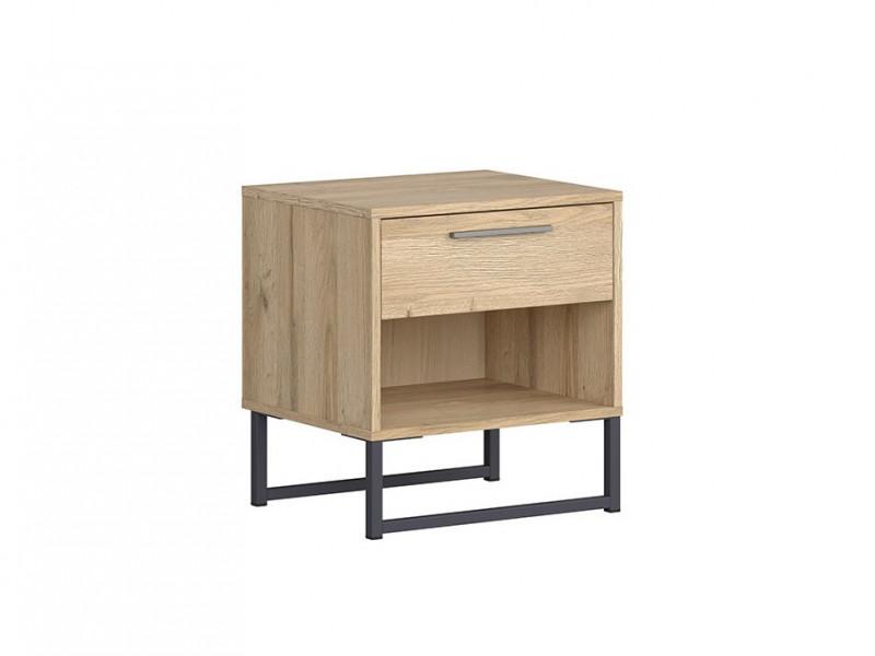 Industrial Bedside Cabinet Side Table Drawer Metal Frame Light Oak - Gamla (L79-KOM1S-GOK-KPL01)