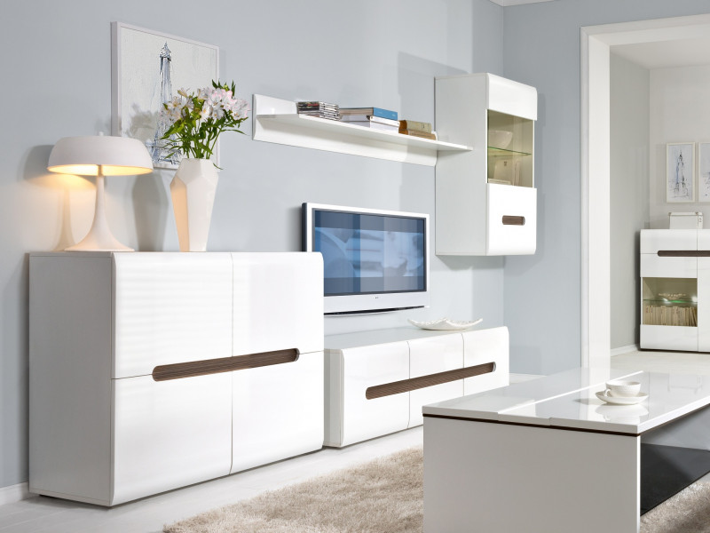 White Gloss Modern Living Room Furniture Set With Tv Unit Wall