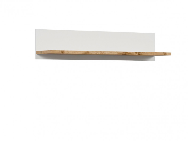 Scandinavian Wall Mounted Storage Floating Shelf Panel Unit 106cm White /Oak - Holten (S397-POL/106-BI/DWO)
