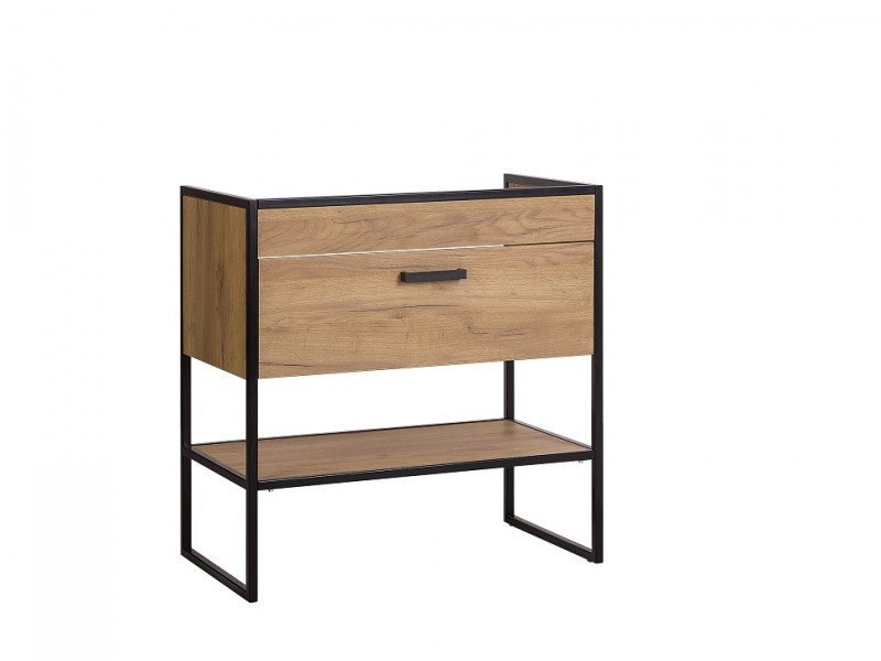 Modern Industrial Oak & Black Steel Vanity Drawer Bathroom Sink Cabinet Loft Unit Free Standing 80cm - Brooklyn (BROOKLYN_821	)
