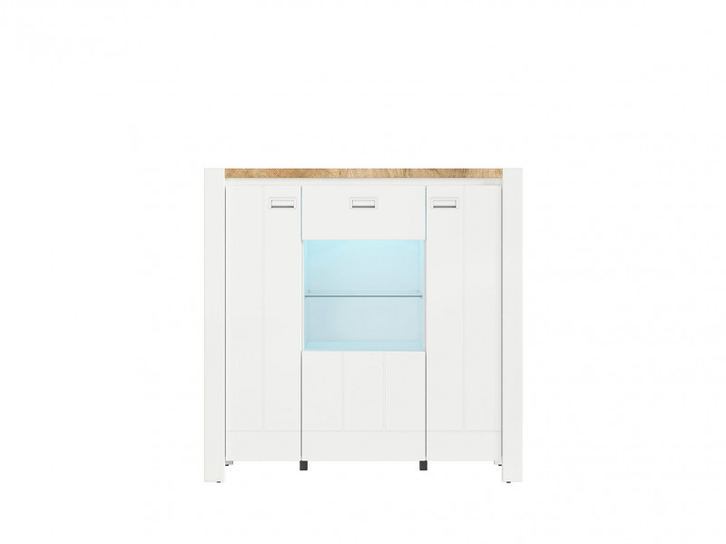 Country Glass 3-Door Display Cabinet Storage Unit with Lights White/Oak - Dreviso (S378-REG2D1W/125/123-BI/DWM/BI)