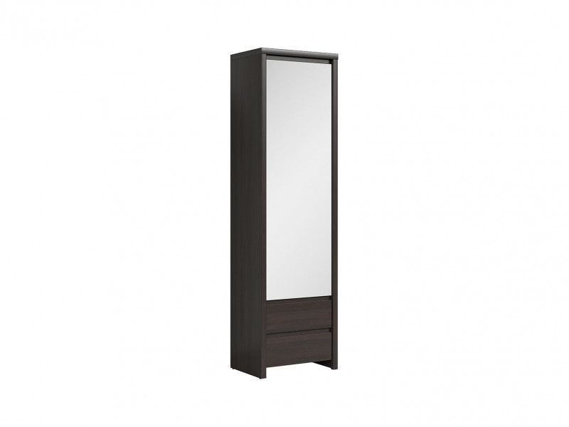 Modern Single Mirror Door Slim Compact Wardrobe Wenge brown finish - Kaspian (S128-SZF1D2SP-WE/WE-KPL01)