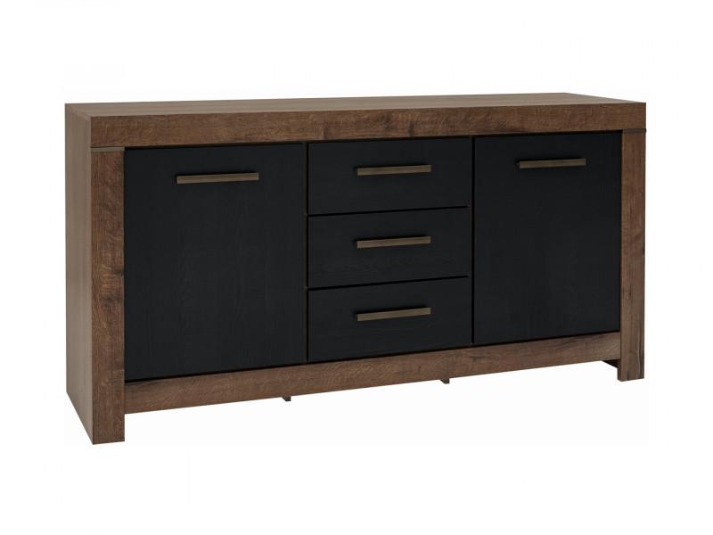 Modern Living Room Wide Sideboard Dresser Storage Cabinet 2 Door Unit with 3 Drawers Oak/Black - Balin (S365-KOM2D3S-DMON/DCA-KPL01)