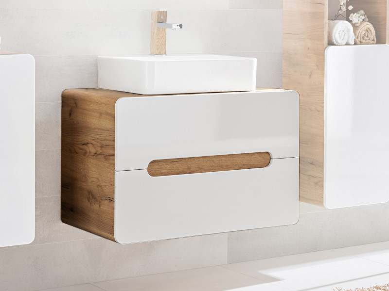 Modern White Gloss / Oak Wall Vanity Sink Bathroom Cabinet 80cm Counter Top 80cm Unit with Drawers - Aruba (ARUBA_829-80_CM	)
