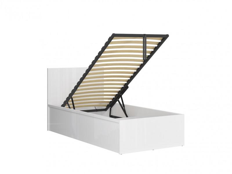 Modern Sturdy Ottoman Single Bed Frame Gas Lift Up Storage White Gloss - Tetrix  (S442-LOZ/90/B-BIP-KPL02)