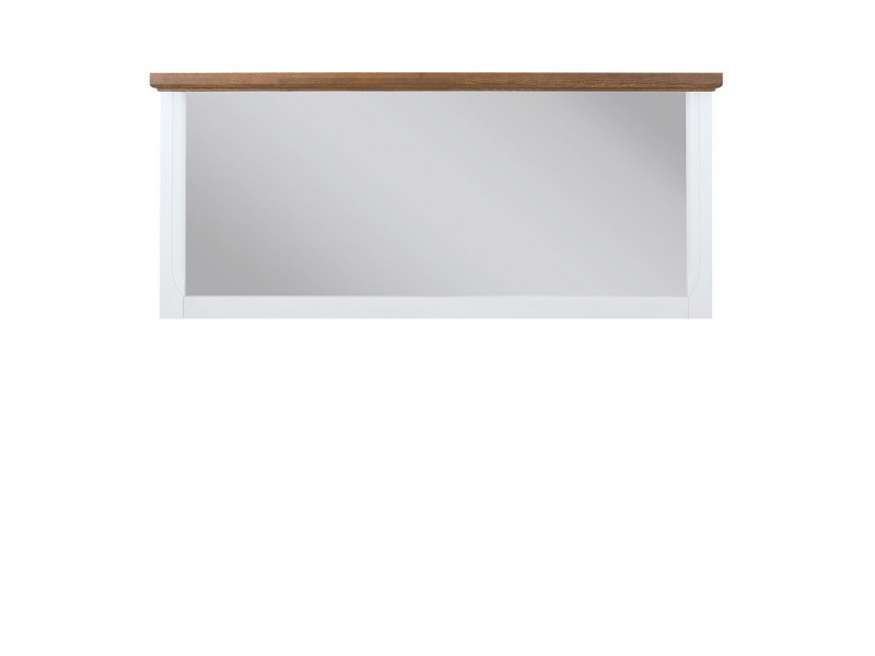 Classic Wall Hung Mirror Rectangular Wood 140 cm White Gloss / Acacia - Kalio (S423-LUS-BIP / ACZ)