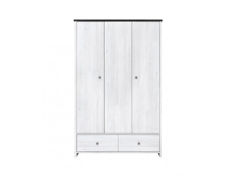Three Door Wardrobe White Wash Wood Effect - Porto (SZF3D2S)