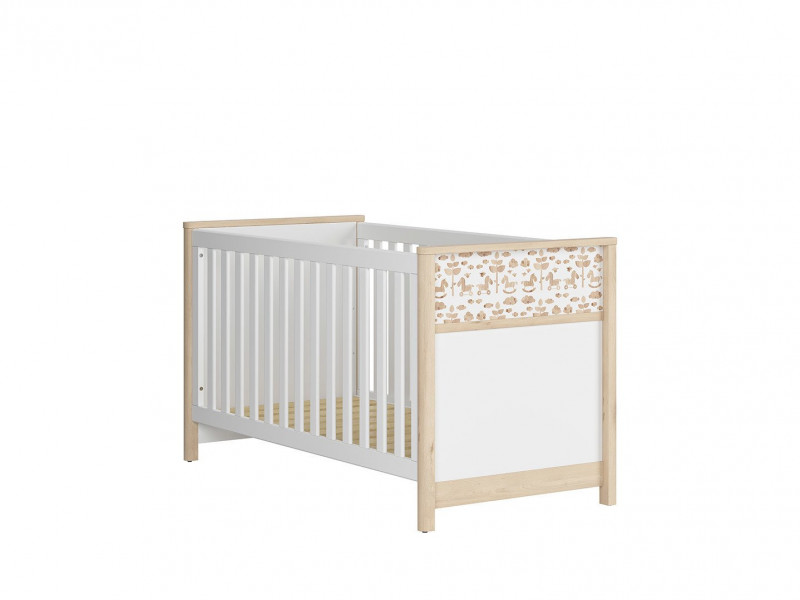 Modern White / Beech Cot Bed Horse Motif Kids Baby Nursery Furniture 140x70cm - Timon (S401-LOZ/140X70-BUI/BI/KOA-KPL01)