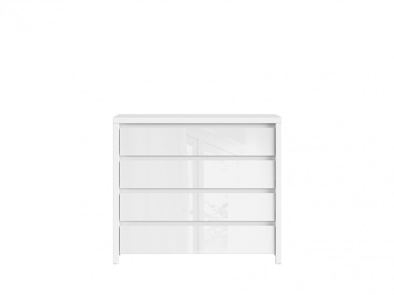 White Gloss Wide Chest of Drawers - Kaspian W (KOM4S)