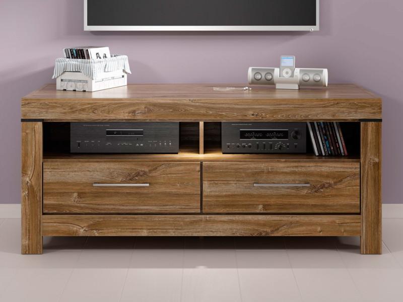Modern 139cm Media Bench TV Cabinet Storage Unit Entertainment Unit 2 Drawers and LEDs Medium Oak Effect - Gent (S228-RTV2S/6/14-DAST-KPL01)