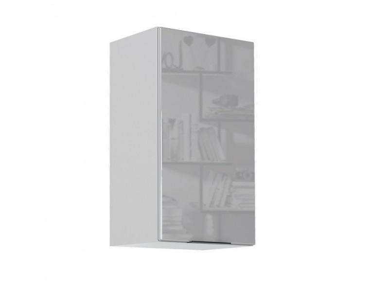 Light Dove Grey Gloss Kitchen Wall Cabinet 40cm Cupboard 1 Door Wall Mounted 400 Unit - Luna (STO-LUNA-W40-P/L-SZ/SZP-KP01)