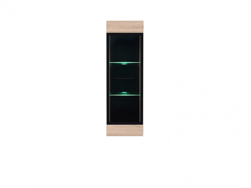 Modern Wall Mounted Display Cabinet Glass Door LED Lights Unit Sonoma Oak - Fever (S182-SFW1W/12/4-DSO/CA-KPL01)