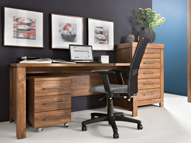 Modern Oak finish Home Office Furniture Set with Desk Mobile Drawers Pedestal Storage Chest Tallboy - Gent (S228-BIU/160-DAST+KON3S/6/4+KOM5S/10/7-DAST)