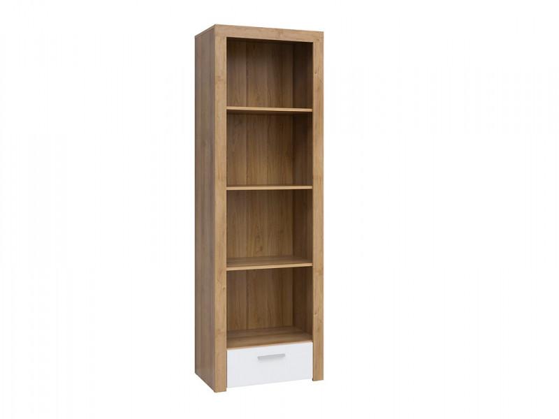 Modern Tall 62cm Bookcase Shelving Cabinet Storage Unit Oak Effect with White Gloss Drawer - Balder (S382-REG1S-DRI/BIP-KPL01)