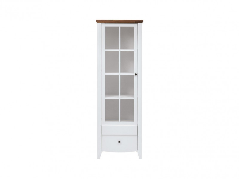 Classic 1-Door Tall Glass Display Cabinet Wood Storage Unit Drawer White Gloss/Acacia - Kalio (S423-REG1W2S-BIP/ACZ/BIP)