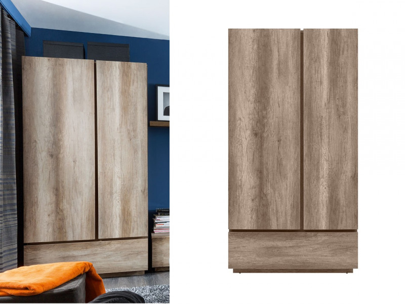Modern Freestanding Bedroom Double 2-Door Wardrobe with Shelves Rail Drawer Soft Closing Oak - Anticca (S317-SZF2D1S-DAMO-KPL01)