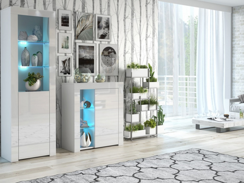 Modern White High Gloss Glass Display Cabinet Set with Blue LEDs: Tall & Compact Bookcase Units - Lily (HOF-KOM1D+SL+BLUE-LEDS)