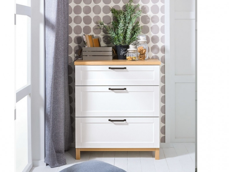 Scandinavian Chest of Drawers in White & Oak - Haga (S369-KOM3S-BIM/BIC-KPL01)