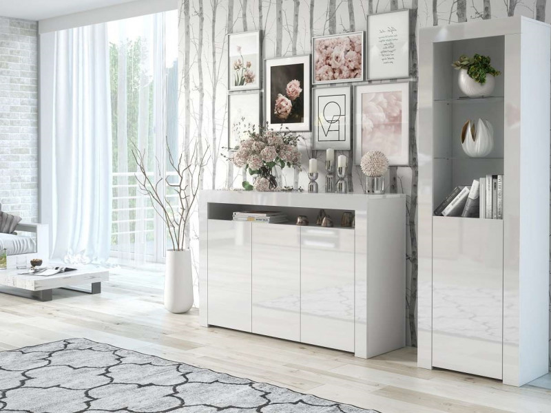 Modern White High Gloss Furniture Set: Wide Sideboard Unit & Tall Bookcase Display Cabinet - Lily (HOF-LILY-SLUPEK+3D-BI/BIP)