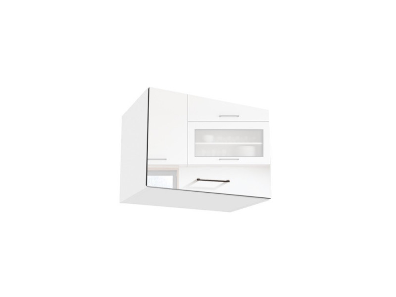 White High Gloss Kitchen Extractor Fan Cupboard Wall Cabinet 60cm Unit  - Roxi (Roxi W60 OKGR)
