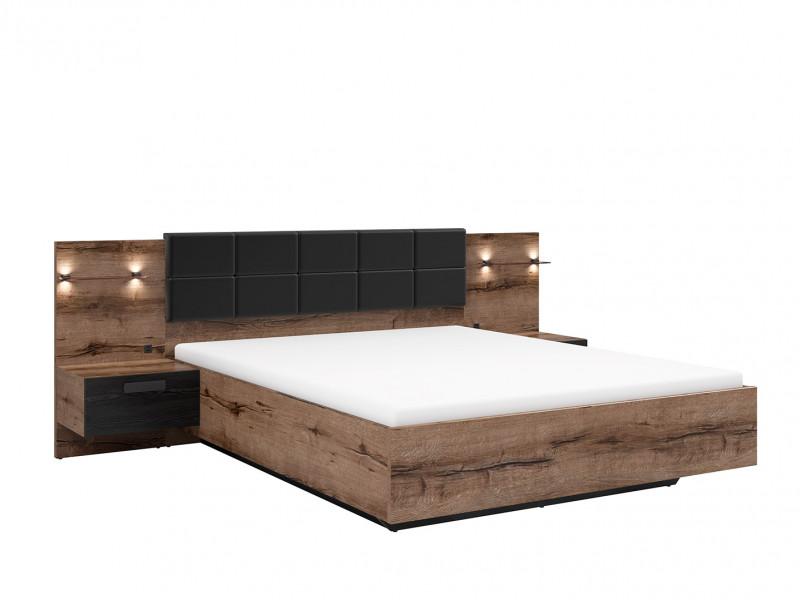 Elegant King Size Bed Frame Built-in Bedside Wall Cabinets USB LED Underbed Storage Lighting Oak/Black - Kassel (L99-LOZ/160/B-DMON/DCA)