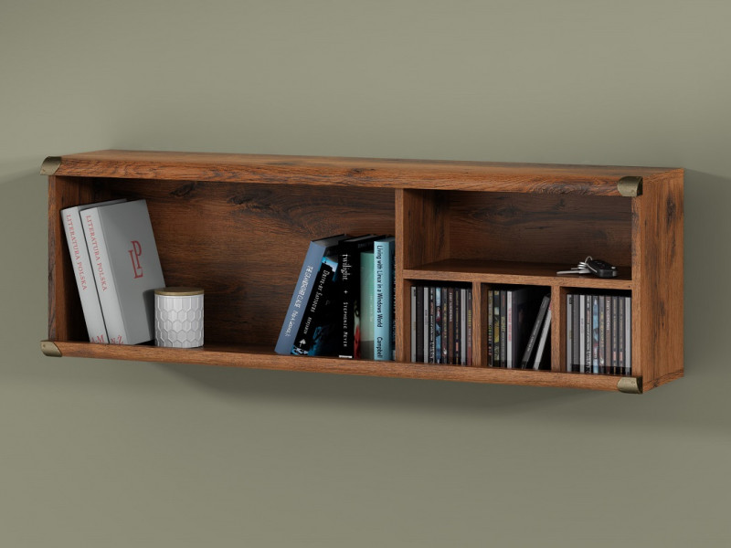 Modern Wall Mounted Open Shelf Storage Cabinet Display 120cm Unit in Dark Oak Effect Finish - Indiana (S31-JPOL120-DSU-KPL02)