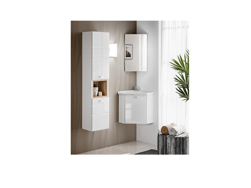 Bathroom Cabinet Corner Set 40cm Wall Mounted with Sink White Gloss - Finka (FINKA_824_SET_WHITE)