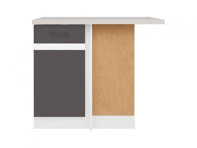 Modern Free Standing Corner Kitchen Cabinet 1000 Base Unit 100cm Right Grey/White Gloss - Junona (K24-DNW/100/82_P-BI/SZW/BNG-KPL01)