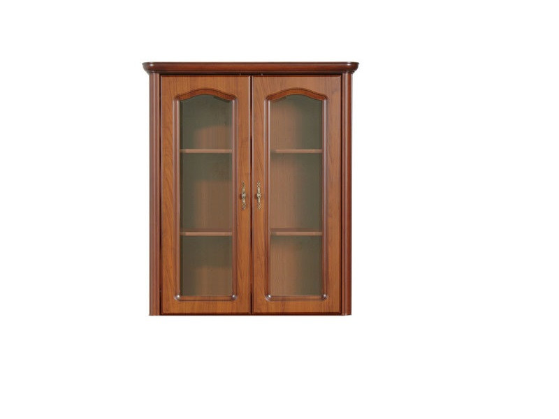 Glass Dresser Cabinet Top Unit Classic Style Traditional Living Room Furniture Cherry Finish - Natalia (NAD100)
