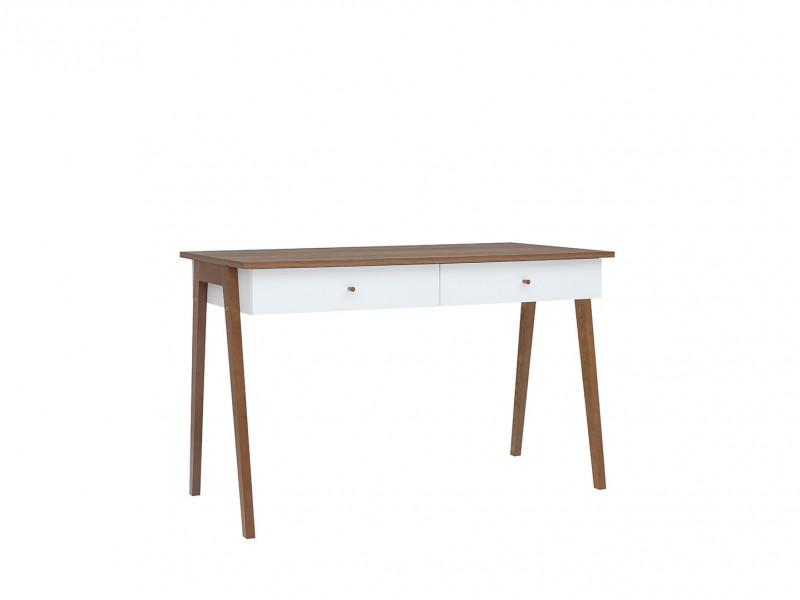 Scandi White Gloss/Walnut Finish Compact Console Table Laptop Desk 2-Drawers Wooden Legs - Heda (S385-BIU2S-BI/MSZ/BIP-KPL01)