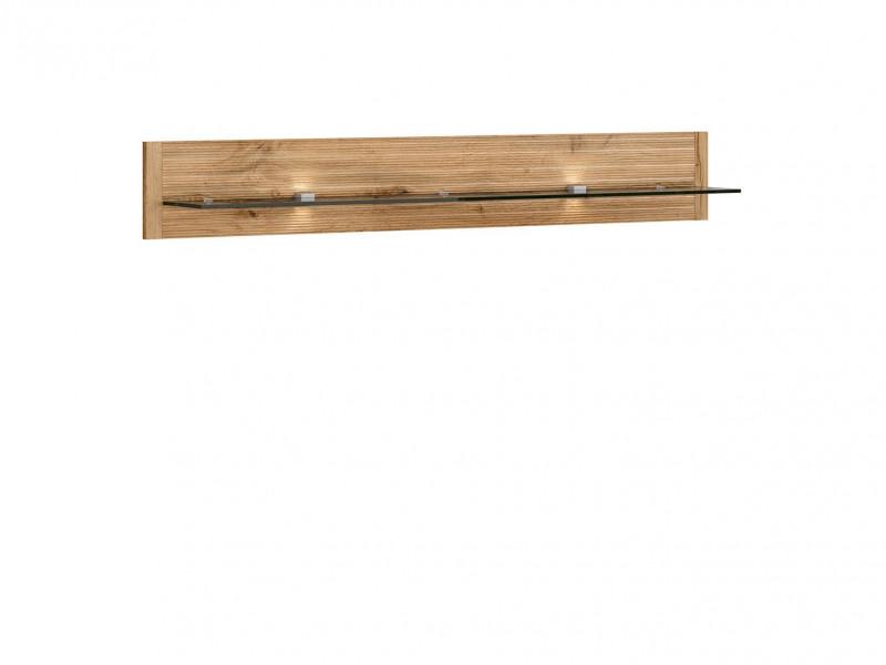 Modern Oak finish & Glass Hanging Floating Wall Shelf Display Panel with LED Lights - Alamo (S266-P/2/14-DWO-KPL01)