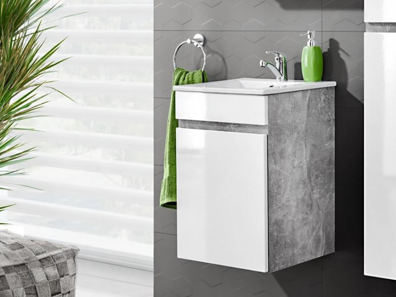 Modern Wall Vanity Bathroom Sink Cabinet 40cm Ceramic Sink White Gloss/Concrete - Atelier (ATELIER_823+CFP-9048B/8023-DP)