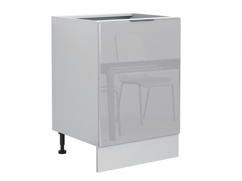 Light Dove Grey Gloss Kitchen Base Cabinet 60cm Cupboard 1 Door Free Standing 600 Unit - Luna (STO-LUNA-D60-P/L-SZ-SZP-KP01)
