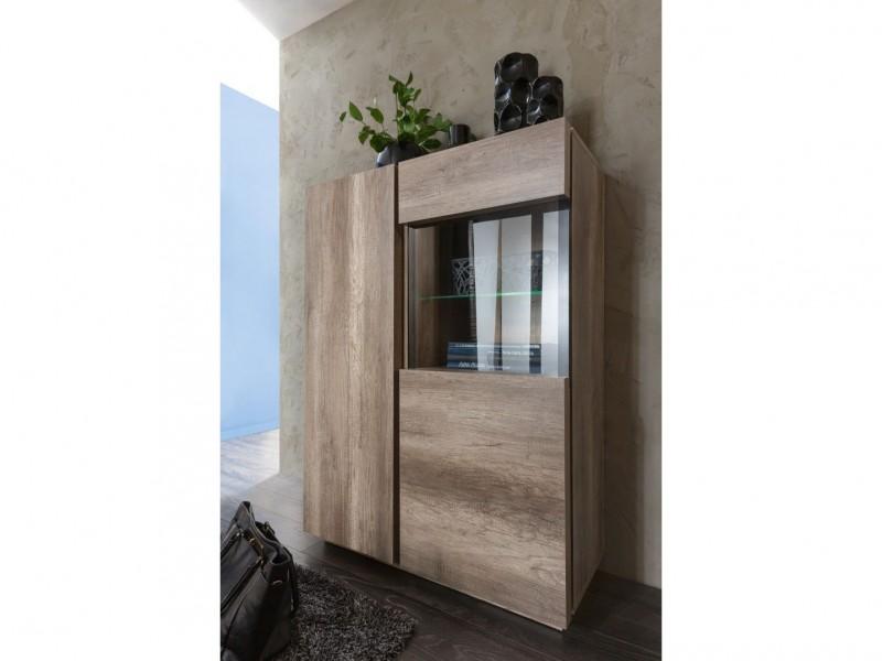 Modern Wide 2-Door Display Glass Cabinet Showcase Storage Unit Optional LED Lights Oak - Anticca (S317-REG1W1D/100-DAMO-KPL01)