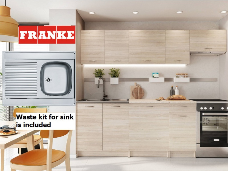 Complete Kitchen Set of 7 Cabinets Units Flat Pack in Sonoma Oak with Franke Sink – Nela 2 (STO-NELA_SET-7UNITS_1.8/2.4-SON-FRANKE)