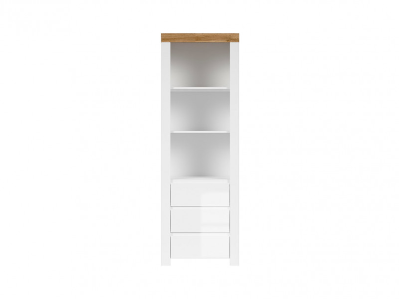 Scandinavian Tall Bookcase Storage Shelving Unit Cabinet with Drawers White Gloss/Oak - Holten (S440-REG3S-BI/DWO/BIP-KPL01)