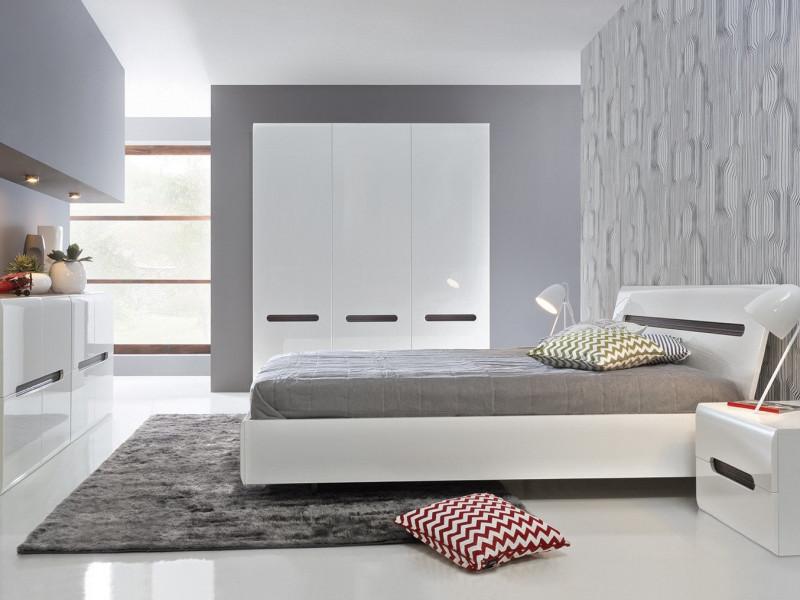 White High Gloss King Size Bedroom Furniture Set Bed Frame Wardrobe Sideboard Bedside Cabinet - Azteca Trio (S504-BEDROOM_SET-TRIO)