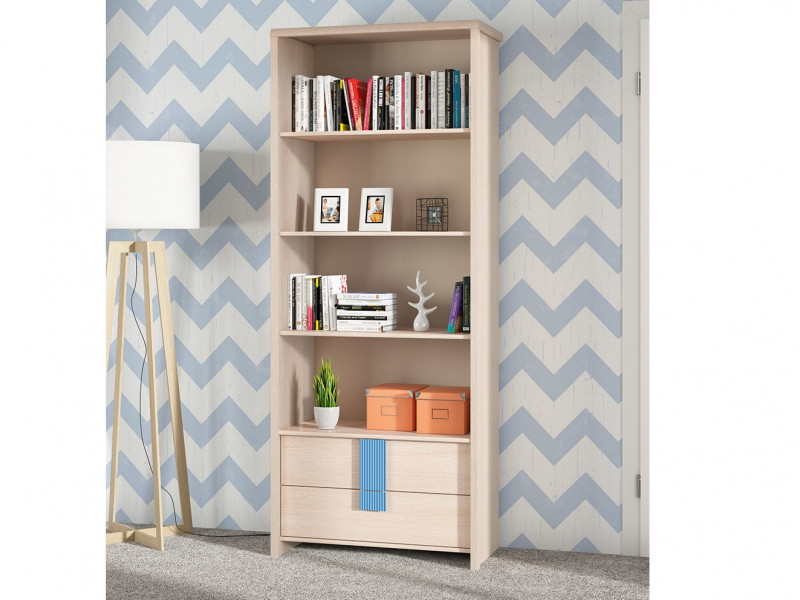 Tall Bookcase Shelving Unit with Drawers Blue & Oak Finish - Caps (REG2S/80)