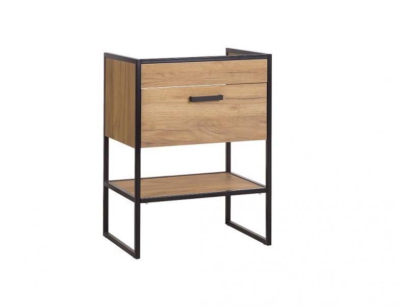 Modern Industrial Oak/ Black Vanity Bathroom Cabinet Drawer Sink Loft Unit Free Standing 60cm - Brooklin (BROOKLIN_820)