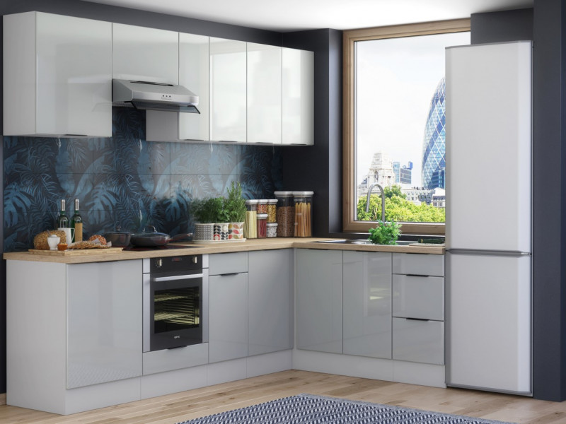 Light Dove Grey Gloss Kitchen Units Corner Set of 11 Cabinets with Oven Housing Unit - Luna (STO-LUNA-SET-11UNITS-CORNER-DK-SZ-SZP)