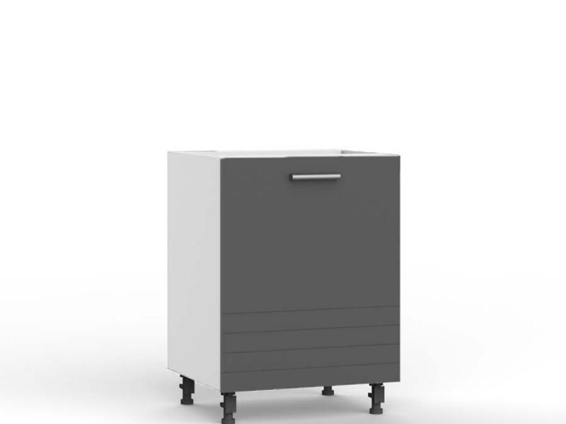 Mocca Dark Grey Kitchen Cabinet Cupboard Base 60cm Free Standing 600 Unit - Paula (STO-PAULA-D60-P/L-GR/MOCHA-KP01)