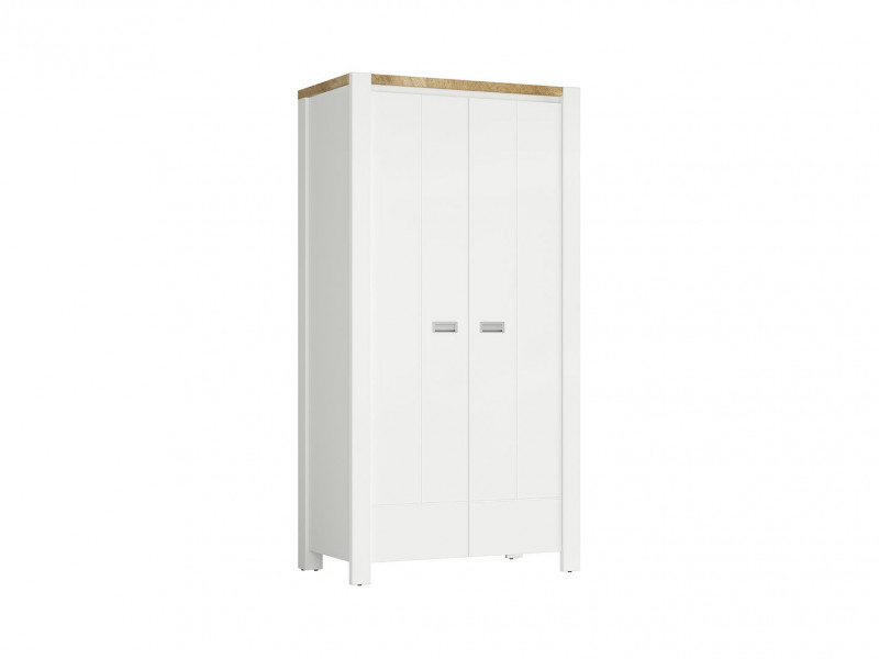 Country Cottage Double Free Standing 2-Door Wardrobe Shelving Rail White/Oak - Dreviso (S378-SZF2D/100-BI/DWM/BI)
