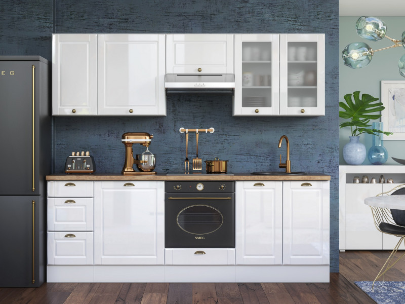 White High Gloss Kitchen 8 Cabinets Unit Set Shaker Cupboards Country Modern Style - Antila (HOF-ANTILA_SET-8UNITS_2.4-BI-BIP)